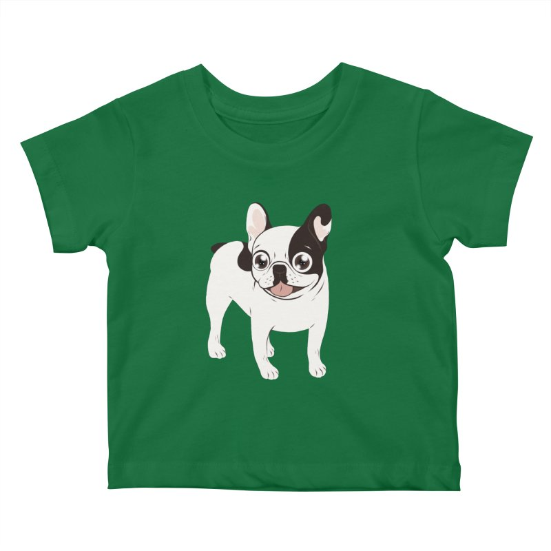 Happy and Fun Single Hooded Pied French Bulldog Kids Baby T-Shirt by Emotional Frenchies - Cute French Bulldog T-shirts