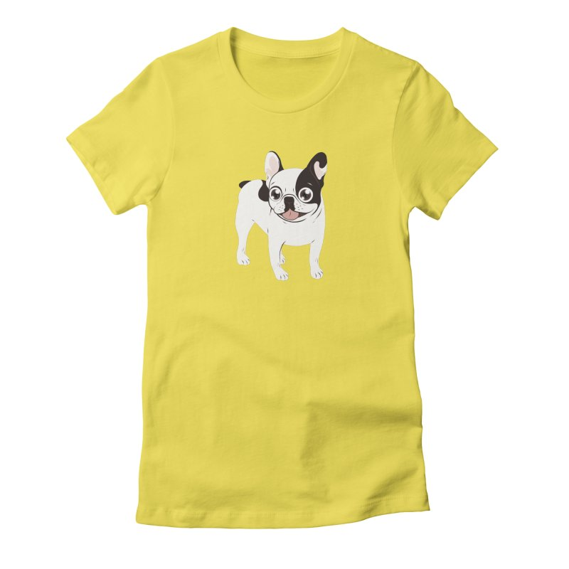 Happy and Fun Single Hooded Pied French Bulldog Women's T-Shirt by Emotional Frenchies - Cute French Bulldog T-shirts