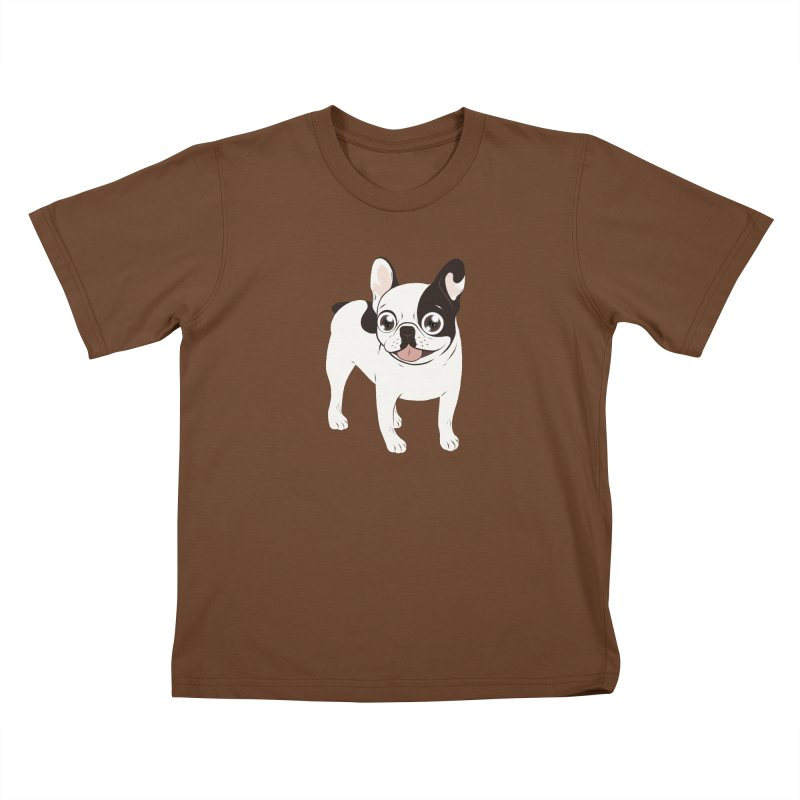 Happy and Fun Single Hooded Pied French Bulldog Kids T-Shirt by Emotional Frenchies - Cute French Bulldog T-shirts