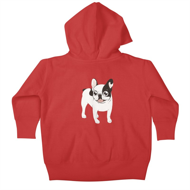 Happy and Fun Single Hooded Pied French Bulldog Kids Baby Zip-Up Hoody by Emotional Frenchies - Cute French Bulldog T-shirts