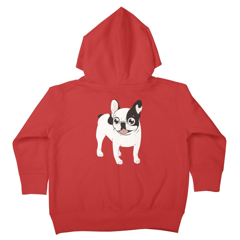 Happy and Fun Single Hooded Pied French Bulldog Kids Toddler Zip-Up Hoody by Emotional Frenchies - Cute French Bulldog T-shirts