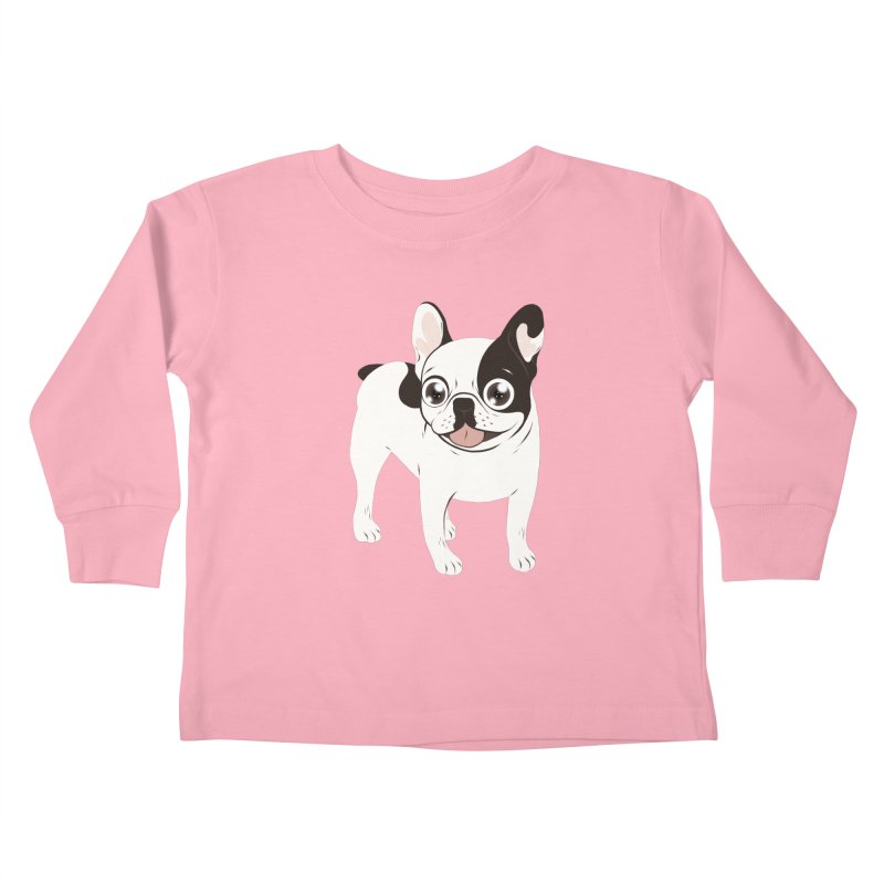 Happy and Fun Single Hooded Pied French Bulldog Kids Toddler Longsleeve T-Shirt by Emotional Frenchies - Cute French Bulldog T-shirts