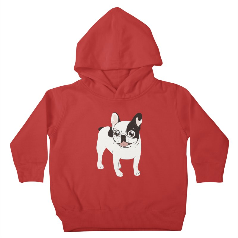 Happy and Fun Single Hooded Pied French Bulldog Kids Toddler Pullover Hoody by Emotional Frenchies - Cute French Bulldog T-shirts