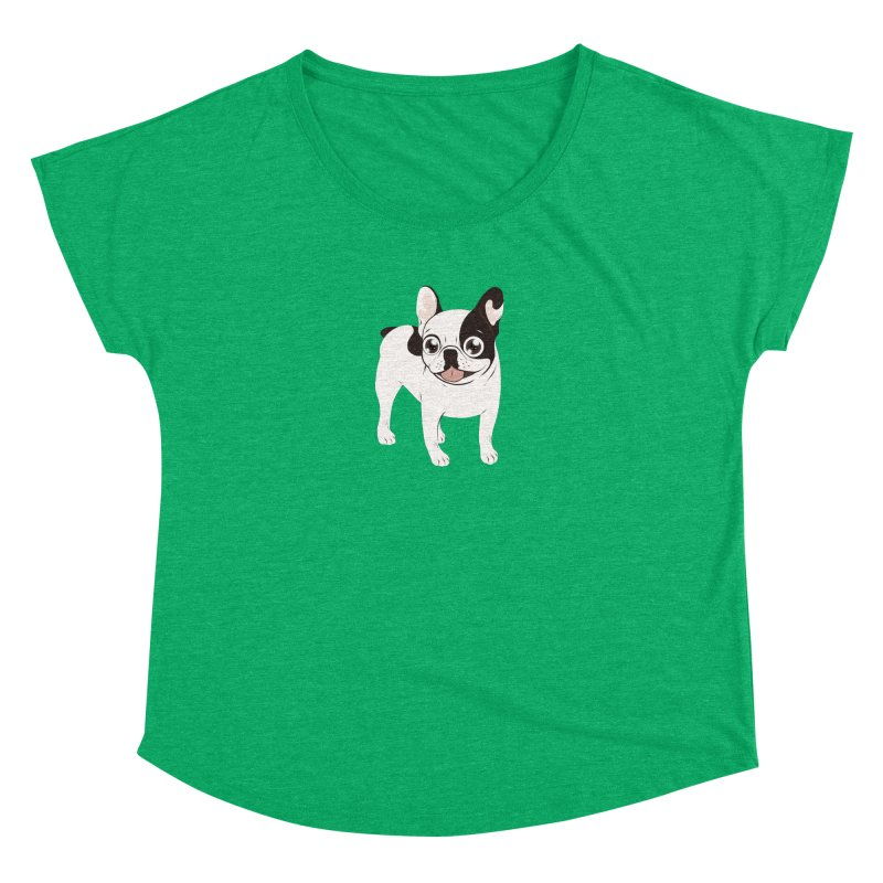 Happy and Fun Single Hooded Pied French Bulldog Women's Dolman Scoop Neck by Emotional Frenchies - Cute French Bulldog T-shirts
