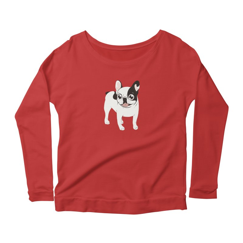 Happy and Fun Single Hooded Pied French Bulldog Women's Scoop Neck Longsleeve T-Shirt by Emotional Frenchies - Cute French Bulldog T-shirts