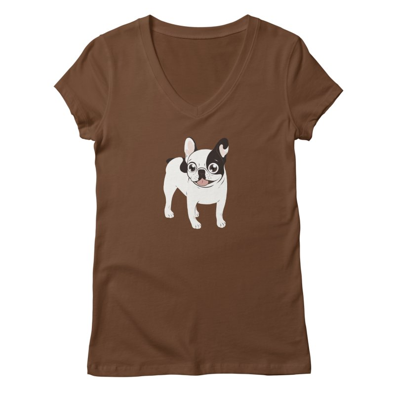 Happy and Fun Single Hooded Pied French Bulldog Women's Regular V-Neck by Emotional Frenchies - Cute French Bulldog T-shirts