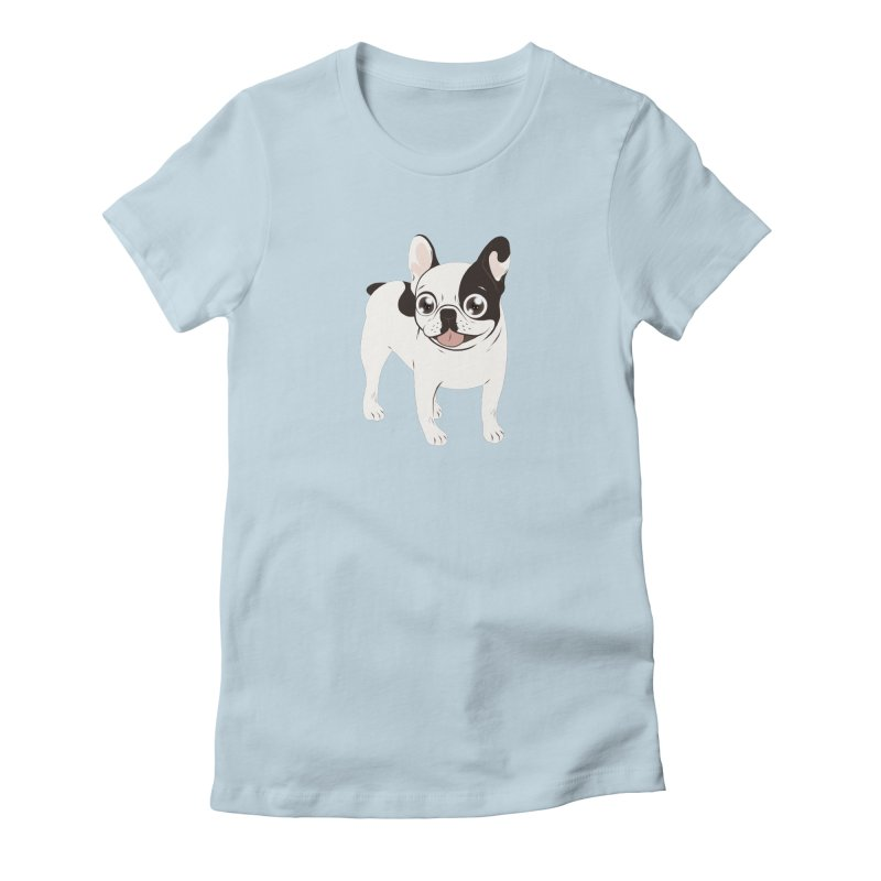 Happy and Fun Single Hooded Pied French Bulldog Women's Fitted T-Shirt by Emotional Frenchies - Cute French Bulldog T-shirts