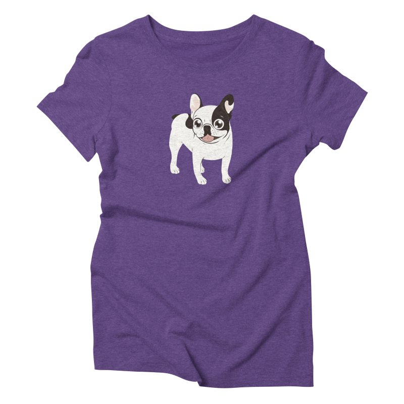 Happy and Fun Single Hooded Pied French Bulldog Women's Triblend T-Shirt by Emotional Frenchies - Cute French Bulldog T-shirts