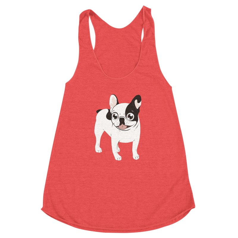 Happy and Fun Single Hooded Pied French Bulldog Women's Racerback Triblend Tank by Emotional Frenchies - Cute French Bulldog T-shirts