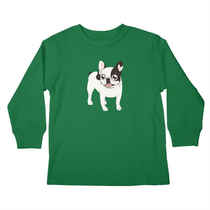 Happy and Fun Single Hooded Pied French Bulldog Kids Longsleeve T-Shirt by Emotional Frenchies - Cute French Bulldog T-shirts