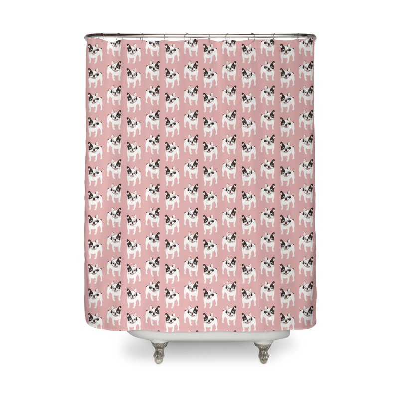 Happy and Fun Single Hooded Pied French Bulldog Home Shower Curtain by Emotional Frenchies - Cute French Bulldog T-shirts