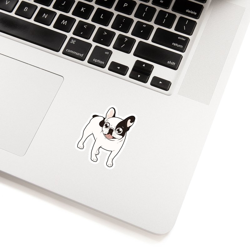 Happy and Fun Single Hooded Pied French Bulldog Accessories Sticker by Emotional Frenchies - Cute French Bulldog T-shirts