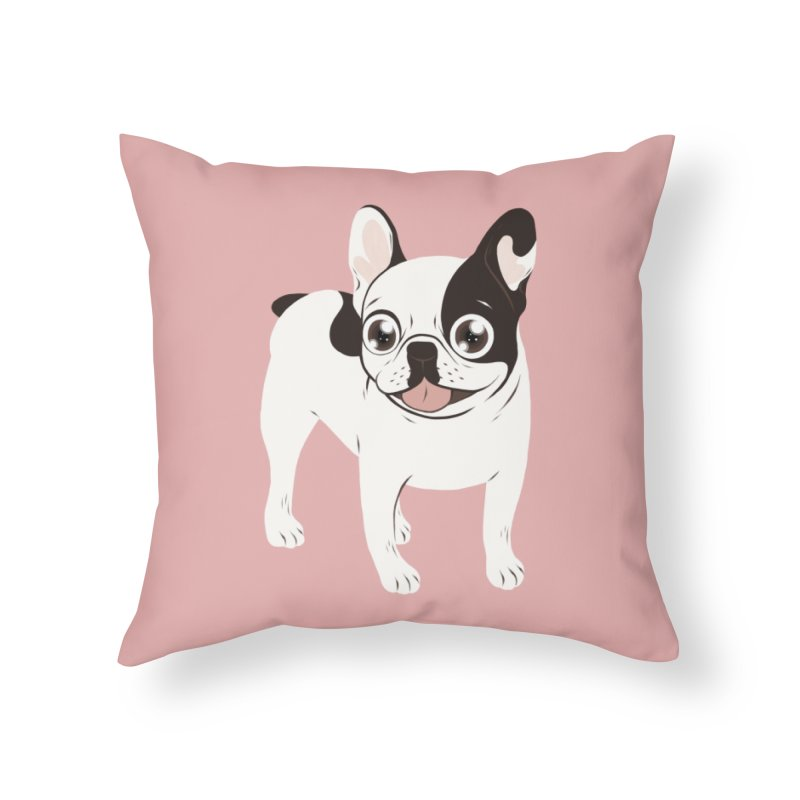 Happy and Fun Single Hooded Pied French Bulldog Home Throw Pillow by Emotional Frenchies - Cute French Bulldog T-shirts