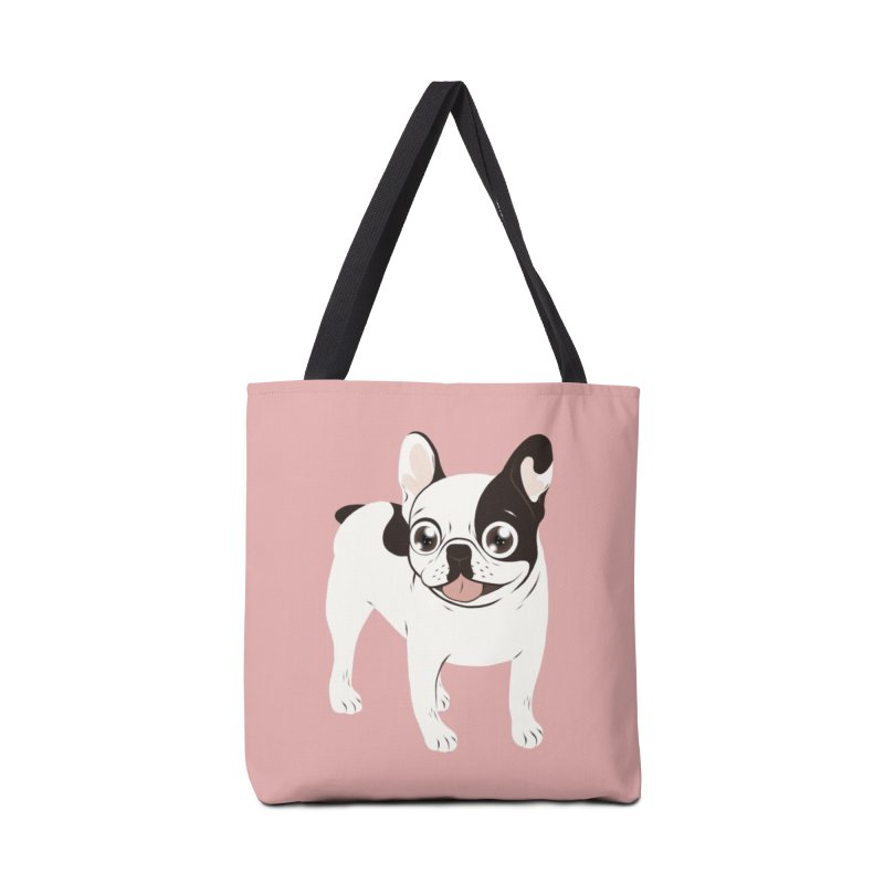 Happy and Fun Single Hooded Pied French Bulldog Accessories Tote Bag Bag by Emotional Frenchies - Cute French Bulldog T-shirts