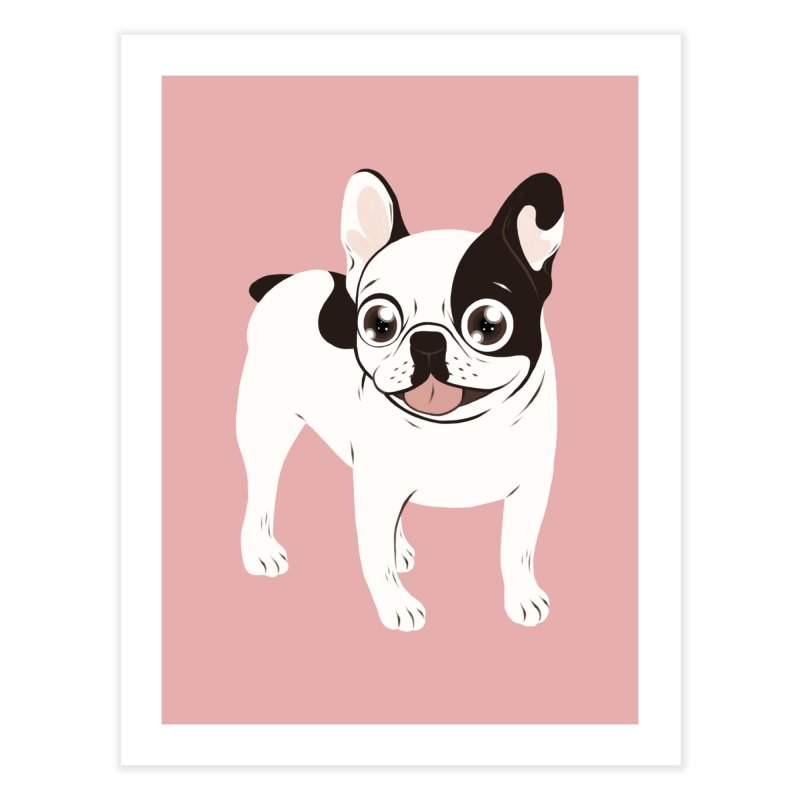 Happy and Fun Single Hooded Pied French Bulldog Home Fine Art Print by Emotional Frenchies - Cute French Bulldog T-shirts