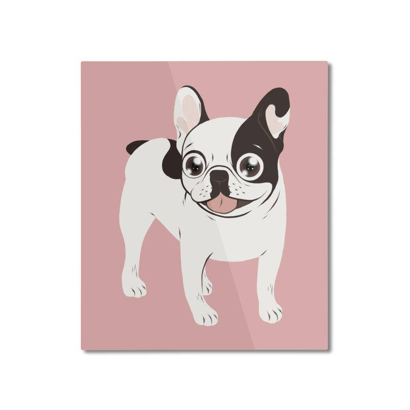 Happy and Fun Single Hooded Pied French Bulldog Home Mounted Aluminum Print by Emotional Frenchies - Cute French Bulldog T-shirts