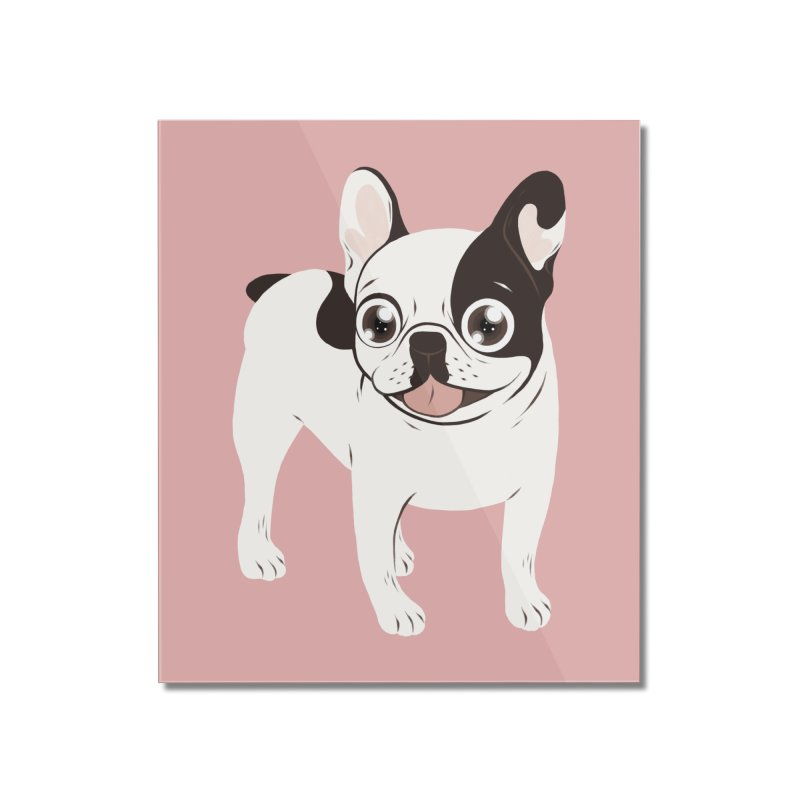 Happy and Fun Single Hooded Pied French Bulldog Home Mounted Acrylic Print by Emotional Frenchies - Cute French Bulldog T-shirts