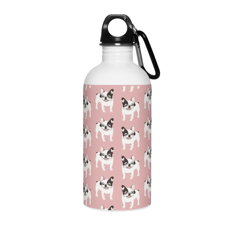Happy and Fun Single Hooded Pied French Bulldog Accessories Water Bottle by Emotional Frenchies - Cute French Bulldog T-shirts