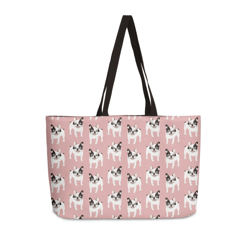 Happy and Fun Single Hooded Pied French Bulldog Accessories Weekender Bag Bag by Emotional Frenchies - Cute French Bulldog T-shirts