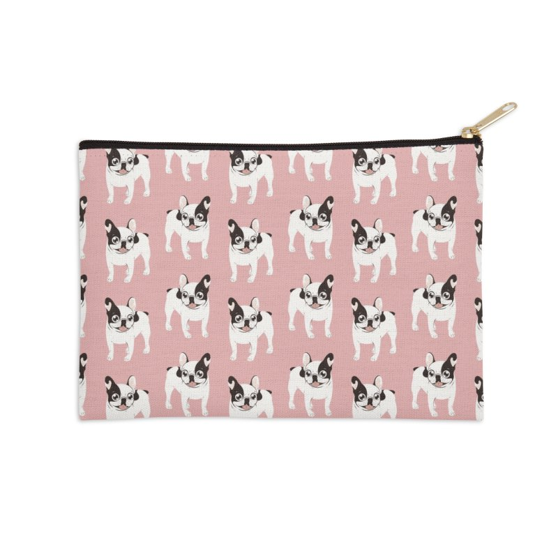 Happy and Fun Single Hooded Pied French Bulldog Accessories Zip Pouch by Emotional Frenchies - Cute French Bulldog T-shirts