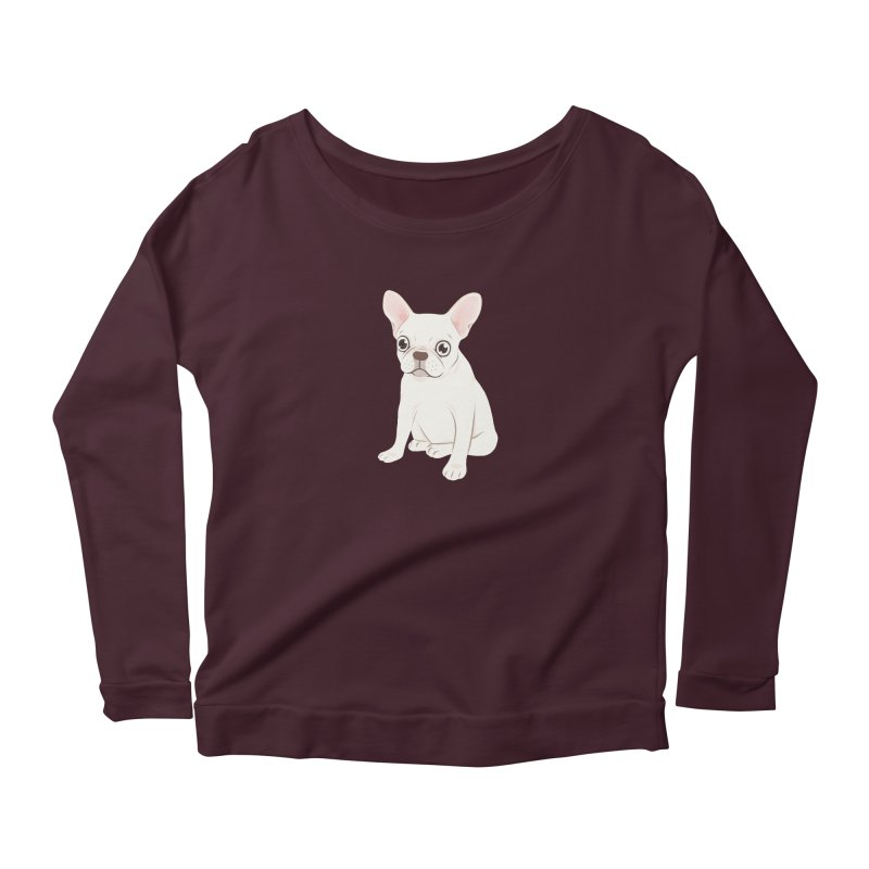 Sweet Cream French Bulldog Wants Your Pet Women's Scoop Neck Longsleeve T-Shirt by Emotional Frenchies - Cute French Bulldog T-shirts