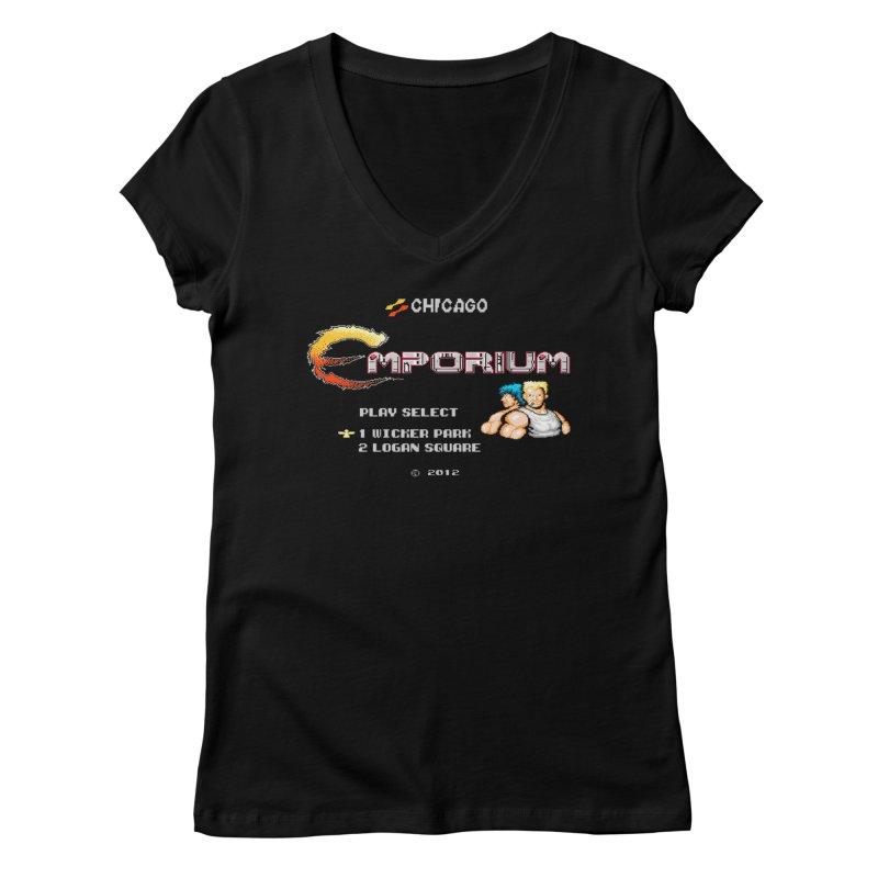 """Emporium """"Contra"""" Women's V-Neck by Emporium Arcade Bar"""