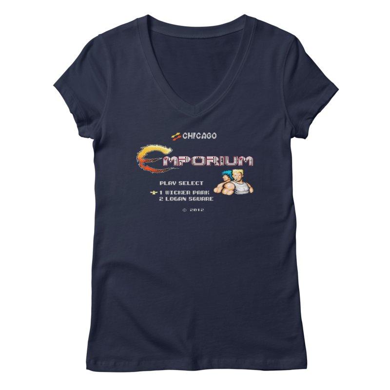 """Emporium """"Contra"""" Women's Regular V-Neck by Emporium Arcade Bar"""