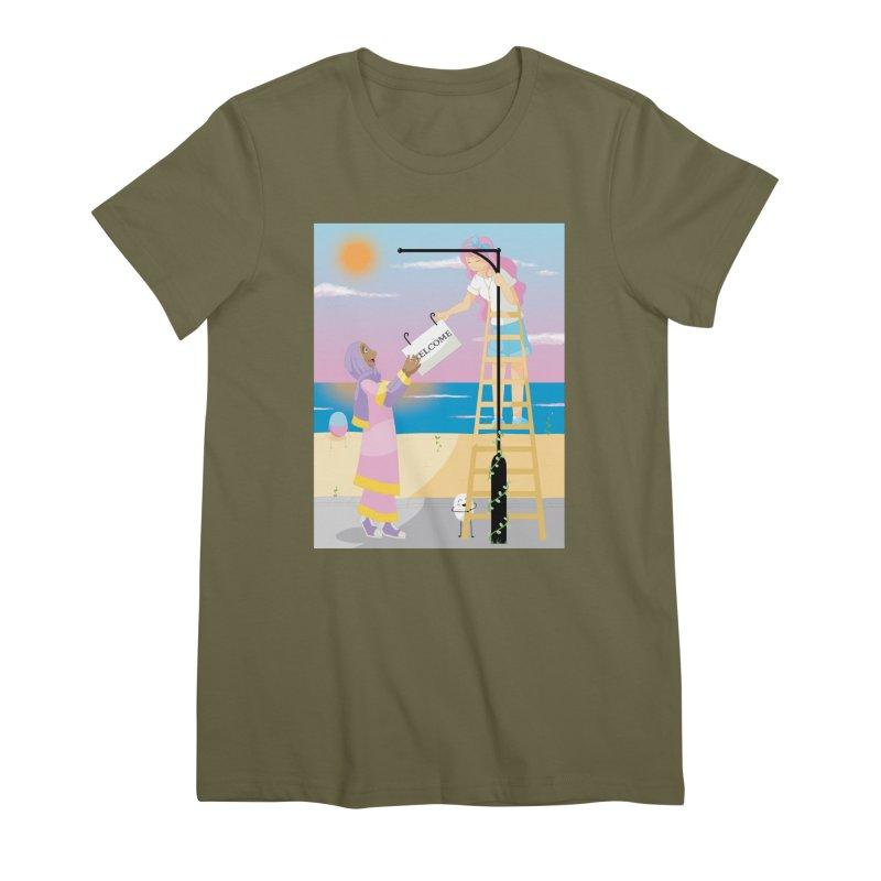 Companions - Welcome Sign Women's Premium T-Shirt by Rachel Yelding   enchantedviolin