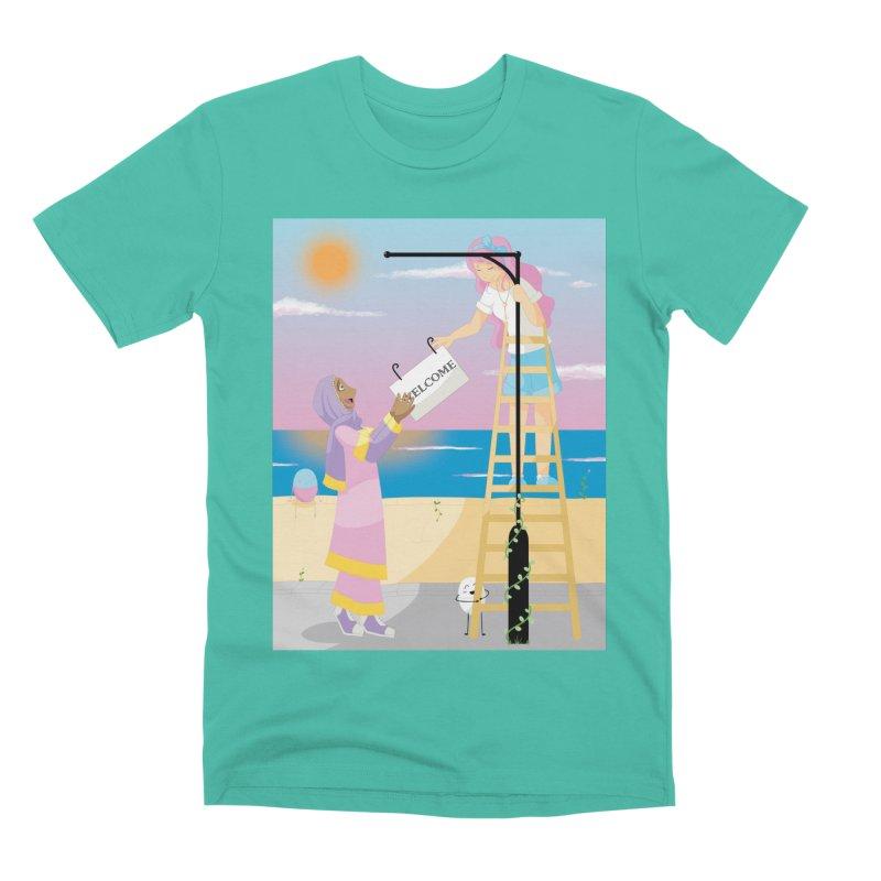 Companions - Welcome Sign Men's Premium T-Shirt by Rachel Yelding | enchantedviolin