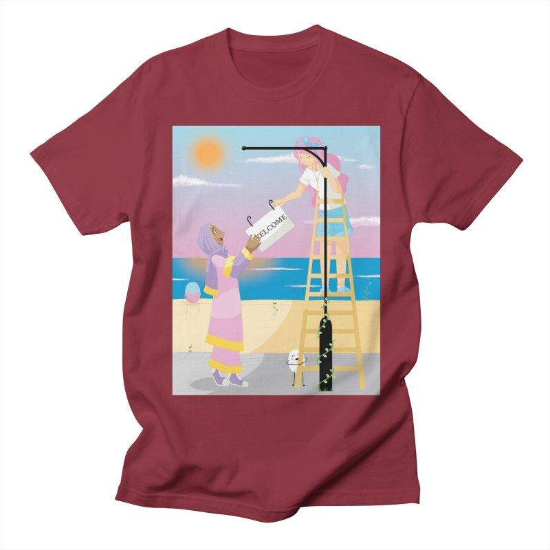 Companions - Welcome Sign Men's Regular T-Shirt by Rachel Yelding | enchantedviolin