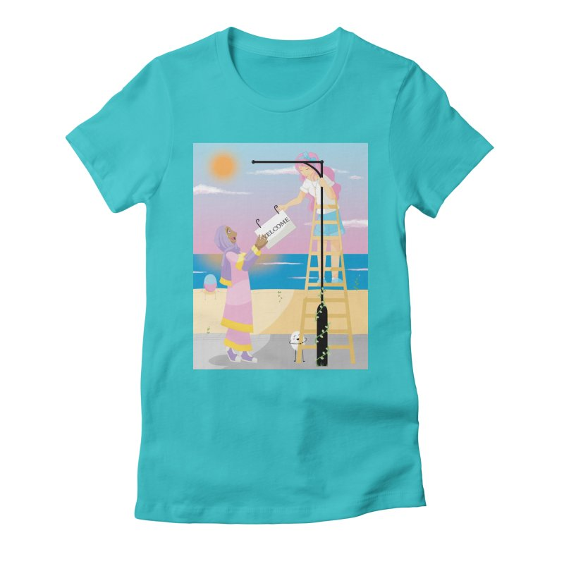 Companions - Welcome Sign Women's Fitted T-Shirt by Rachel Yelding | enchantedviolin