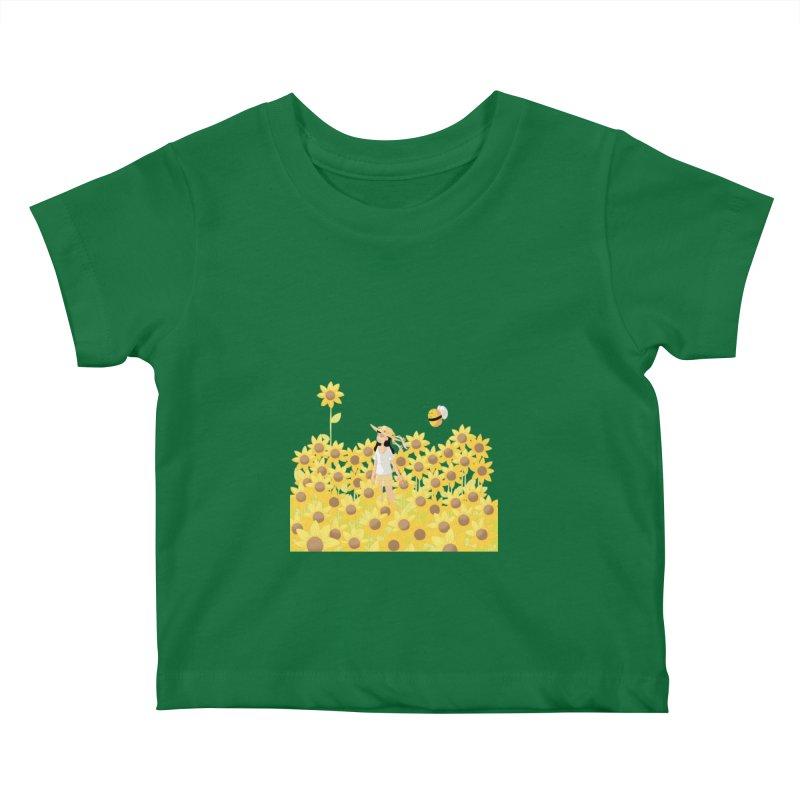 Companions - Sunflower Field (transparent) Kids Baby T-Shirt by Rachel Yelding | enchantedviolin