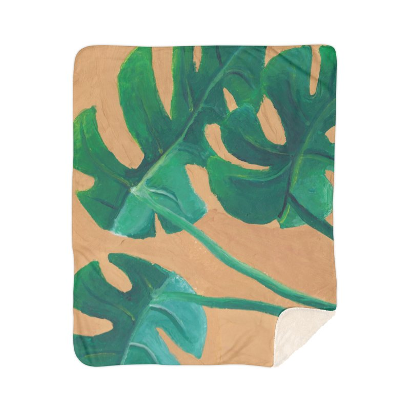 Monstera in Gouache Home Blanket by Rachel Yelding | enchantedviolin