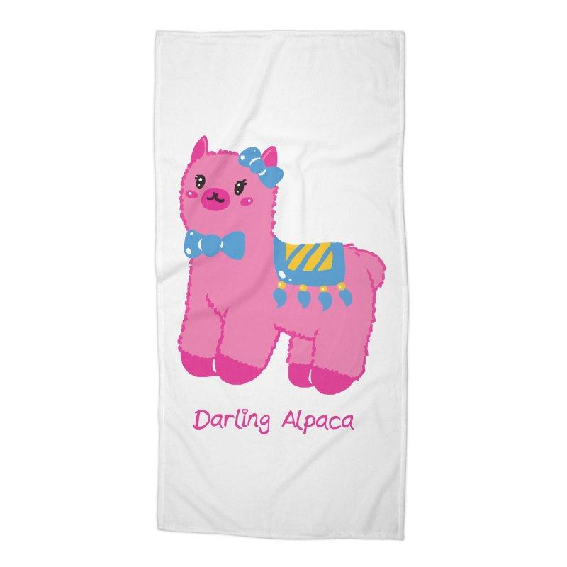 Darling Alpaca - English Text Accessories Beach Towel by Rachel Yelding | enchantedviolin