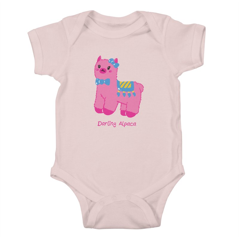 Darling Alpaca - English Text in Kids Baby Bodysuit Soft Pink by Rachel Yelding | enchantedviolin