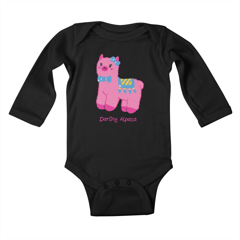 Darling Alpaca - English Text Kids Baby Longsleeve Bodysuit by Rachel Yelding | enchantedviolin