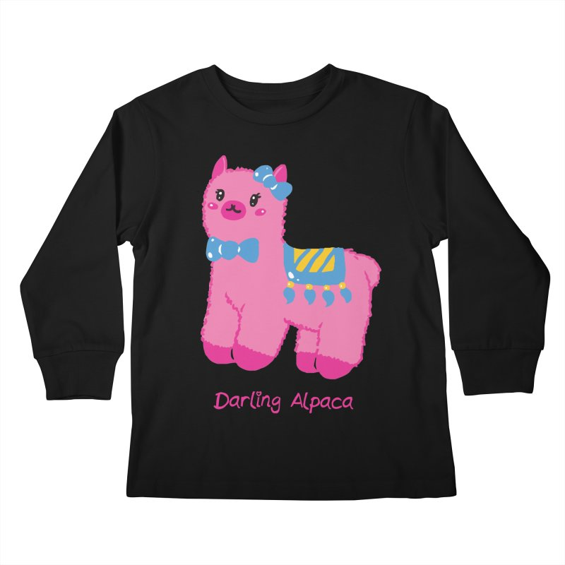 Darling Alpaca - English Text Kids Longsleeve T-Shirt by Rachel Yelding | enchantedviolin
