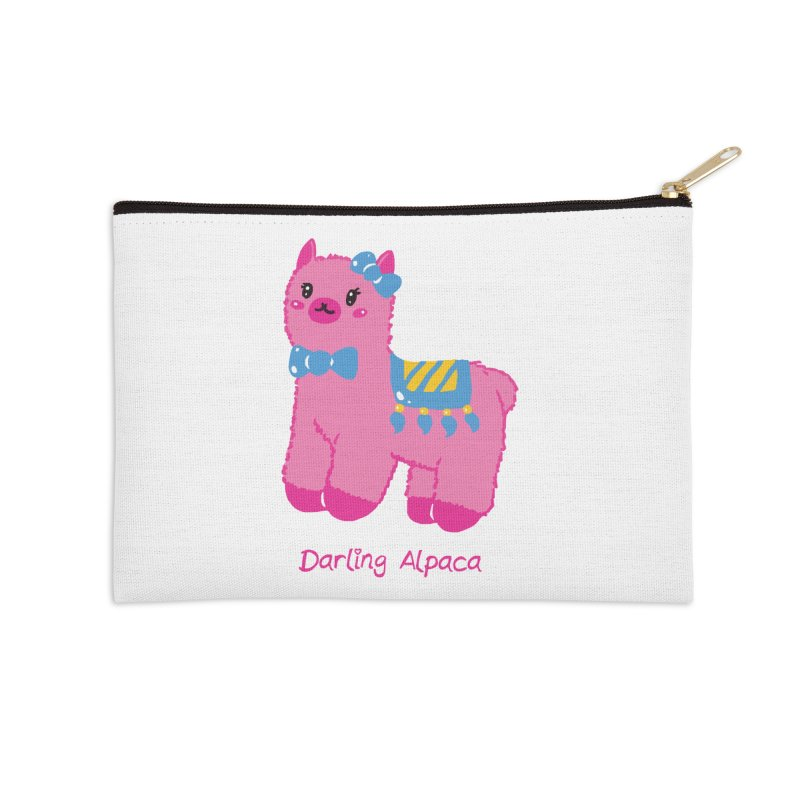 Darling Alpaca - English Text Accessories Zip Pouch by Rachel Yelding | enchantedviolin