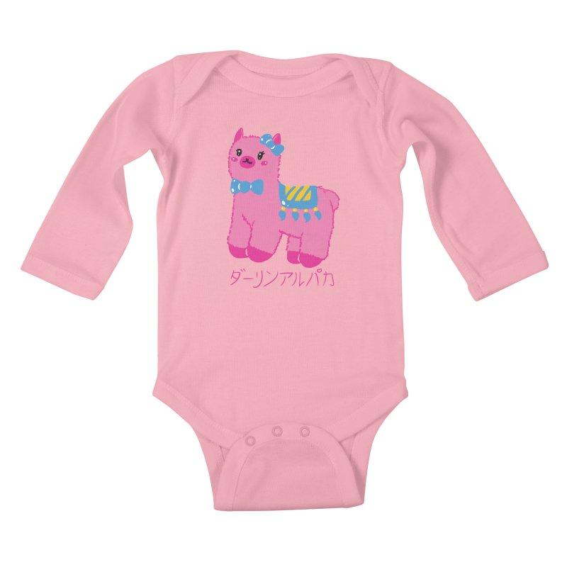 Darling Alpaca - Japanese Text Kids Baby Longsleeve Bodysuit by Rachel Yelding | enchantedviolin