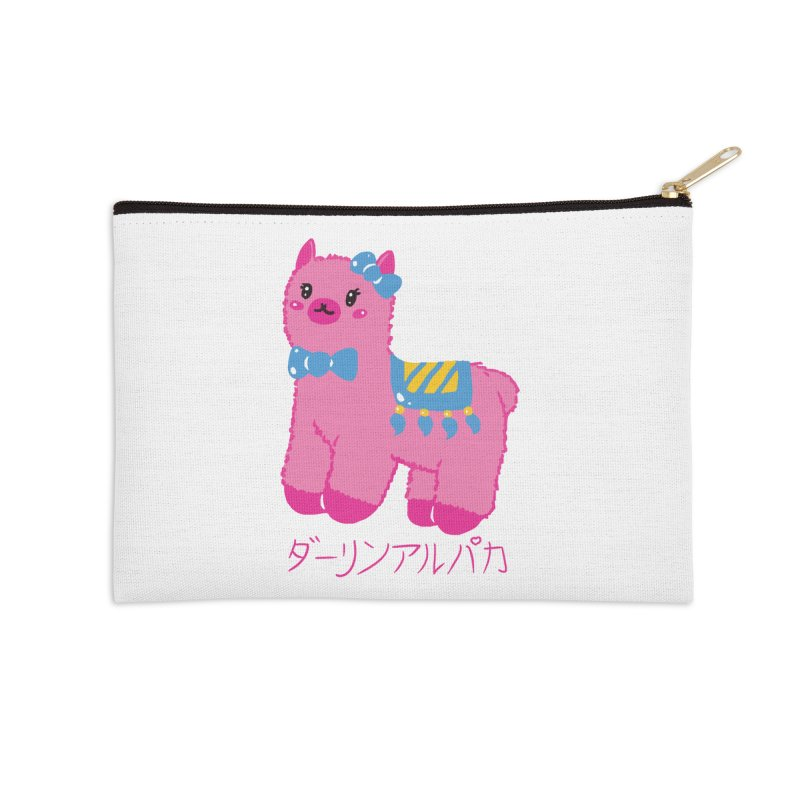 Darling Alpaca - Japanese Text Accessories Zip Pouch by Rachel Yelding | enchantedviolin