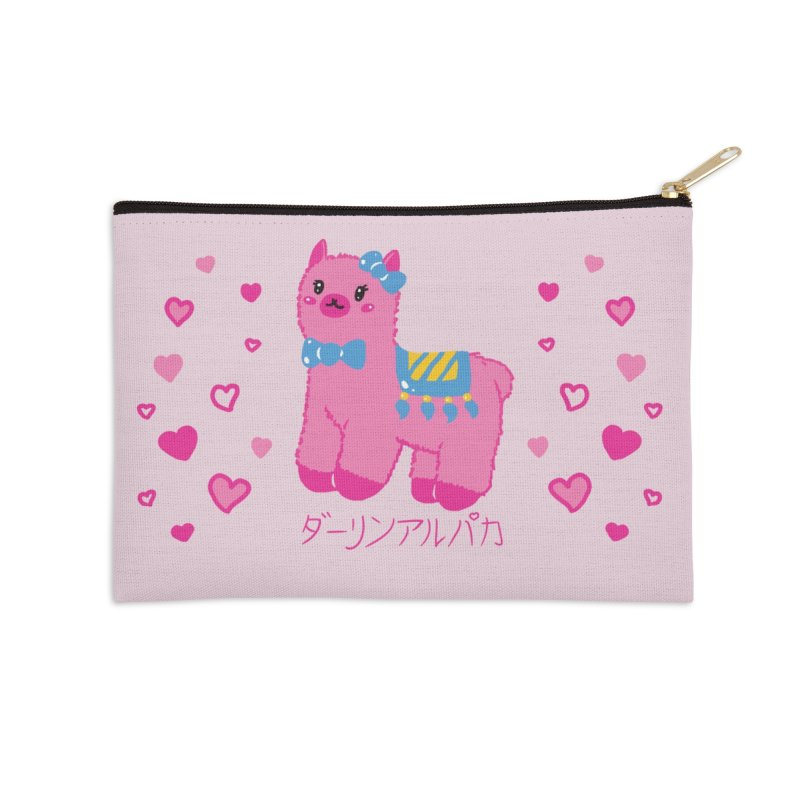 Darling Alpaca - Hearts Accessories Zip Pouch by Rachel Yelding | enchantedviolin