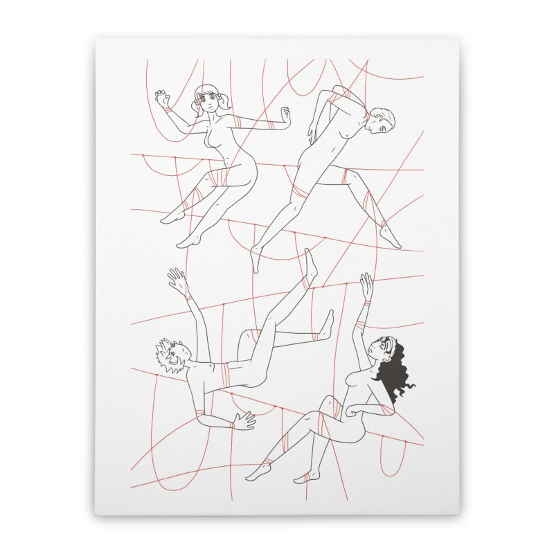 NSFW - Red String - Dark Lines Home Stretched Canvas by Rachel Yelding | enchantedviolin
