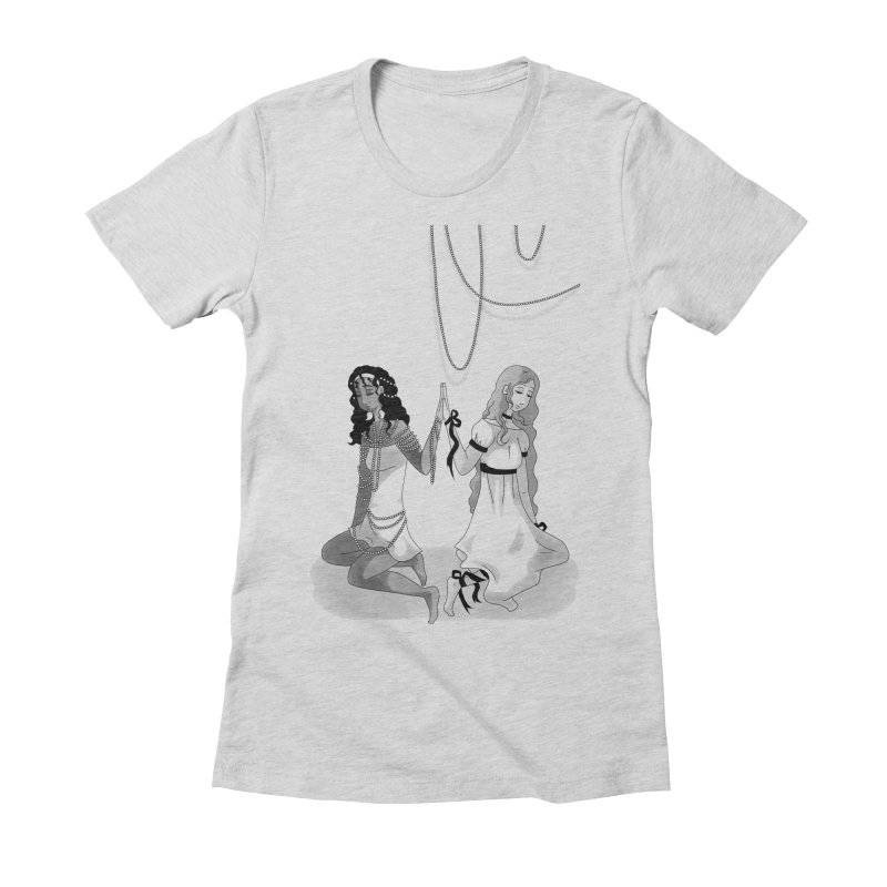 Ribbons and Pearls - Greyscale Women's Fitted T-Shirt by Rachel Yelding | enchantedviolin