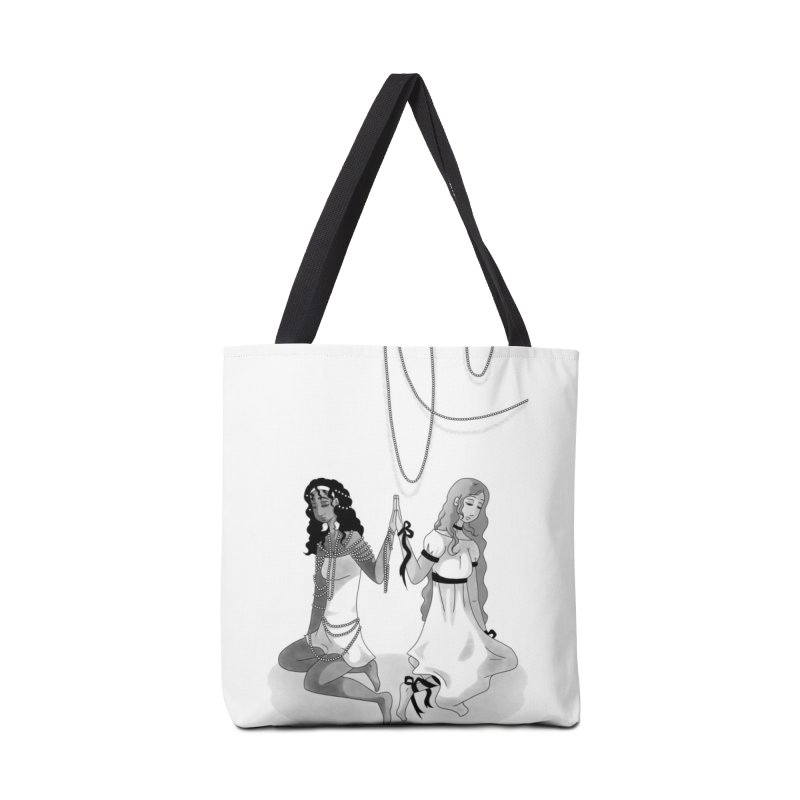 Ribbons and Pearls - Greyscale Accessories Tote Bag Bag by Rachel Yelding | enchantedviolin