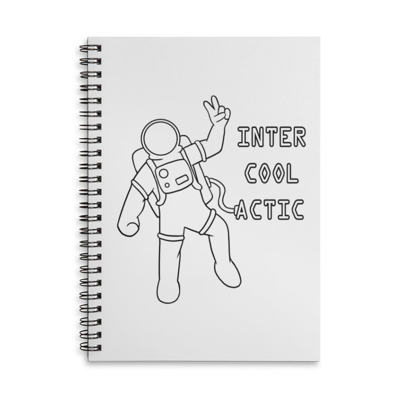 Inter-Cool-Actic - Black - Text Accessories Lined Spiral Notebook by Rachel Yelding | enchantedviolin