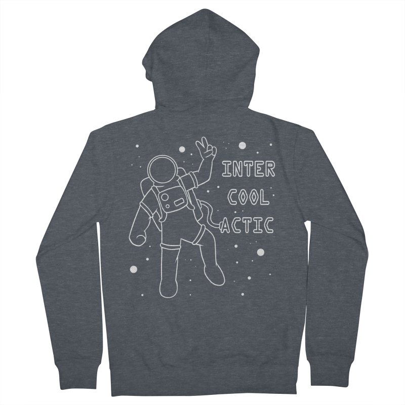 Inter-Cool-Actic - White - Text Women's French Terry Zip-Up Hoody by Rachel Yelding   enchantedviolin