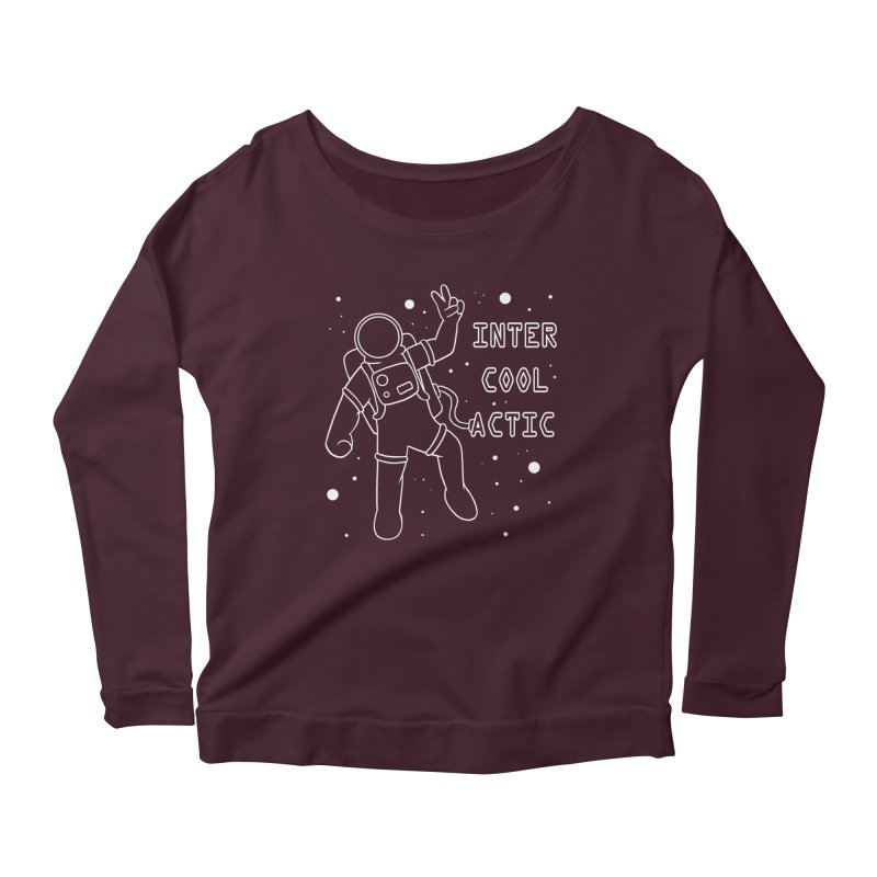 Inter-Cool-Actic - White - Text Women's Scoop Neck Longsleeve T-Shirt by Rachel Yelding | enchantedviolin