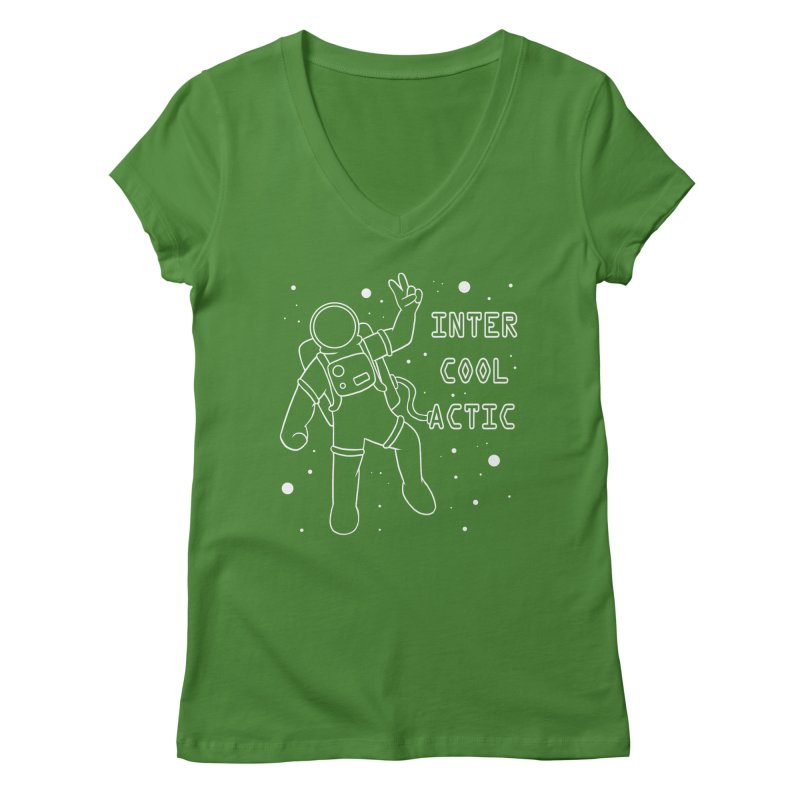 Inter-Cool-Actic - White - Text Women's V-Neck by Rachel Yelding | enchantedviolin
