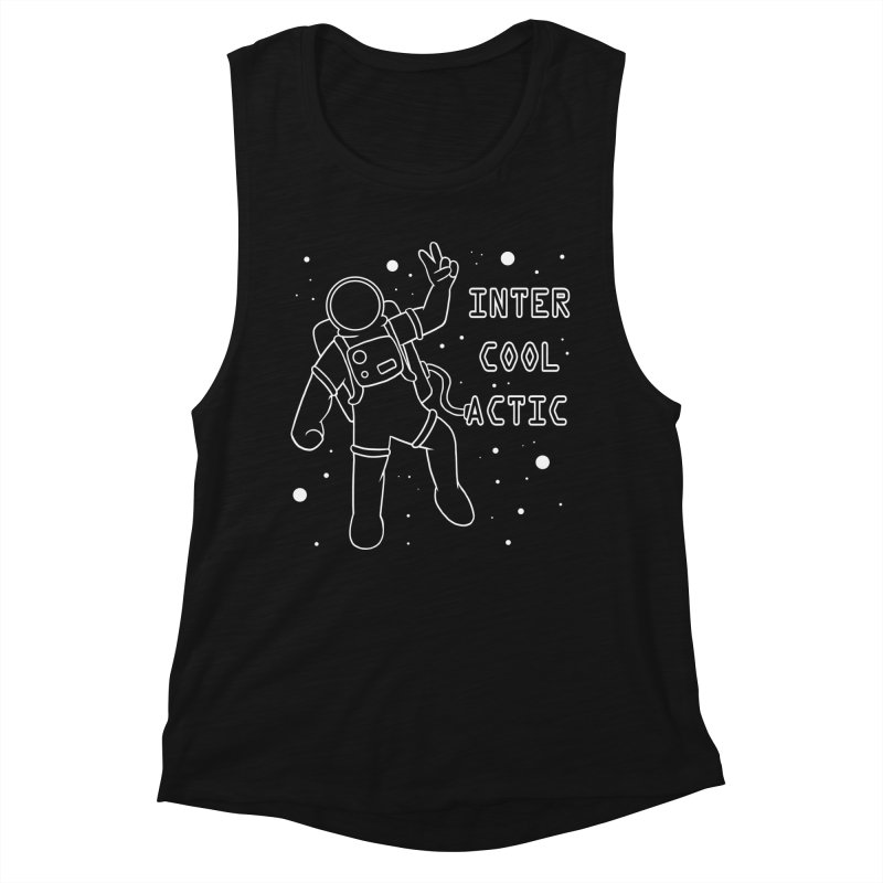 Inter-Cool-Actic - White - Text Women's Muscle Tank by Rachel Yelding | enchantedviolin
