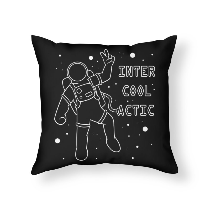Inter-Cool-Actic - White - Text Home Throw Pillow by Rachel Yelding | enchantedviolin